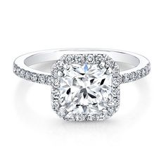 18K White Gold Square Halo Engagement Ring - FM27007-18W
