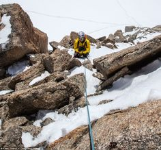 Lumi Toma from ALPINE PHOTOGRAPHY on the north face of Tacul du Mont Blanc.