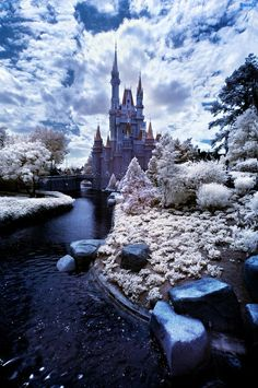 Ever seen Walt Disney World or Disneyland in winter? Well, in this post, we share infrared photos that offer the impression of snow-covered Disney parks, and offer tips for creating infrared photos of your own. World Disney, Disney Parks, Disney Disney, Beautiful Castles, Beautiful Places, Beautiful Pictures, Chateau Disney, Infrared Photography, Famous Castles