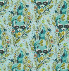 Tula Pink Acacia Racoon Sky Fabric  Half Yard by luckykaerufabric, $4.60