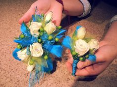 His and hers homecoming corsage and boutonniere. These are to match an aqua dress. #marianos