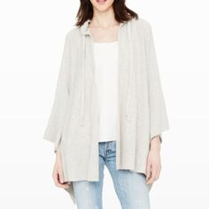 Cashmere hooded wrap Cashmere wrap with drawstring hood, poncho style, open front. Welt pockets at sides, asymmetrical hem. Extremely soft, yet warm. Imported, dryclean only. Club Monaco Sweaters Shrugs & Ponchos