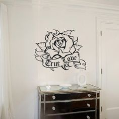 tattoo rose wall decal with personalized banner by beepart on Etsy, $45.00