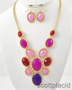 Chunky Multi Color Charm Gold Chain Earring Necklace Set Fashion Costume Jewelry