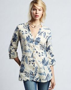 Polynesian Floral Tunic Top - Women - Lucky Brand Jeans