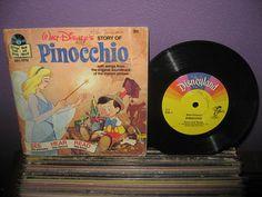 """Vinyl Record Album Disney's Pinocchio Book and Record 7"""" LP 1977 Children's Classics"""