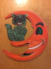 Shiny Brite  vintage 2001 Moon And Cat Cardboard  Halloween Decoration