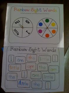 Practice writing sight words by spinning to get a word and a color, then writing in that color. I have also seen Rainbow Spelling in which the spelling list is given in big letters and the students' homework is to trace the words over and over in different colors so that it becomes a rainbow.