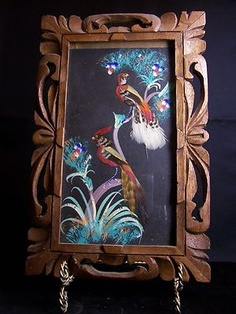 Vintage Mexican Folk Art Feather Bird Hand Painted Picture Wood Frame 1950u0027s