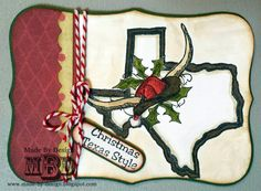 Texana Designs  sample by Texana Designs Team Member Megan Bickers using our Texana Designs Longhorn Santa (Large), Cowboy Hat (Mini), Jam'n Texas Outline, Jam'n Barbed Wire Holly, and Christmas Texas Style stamps.