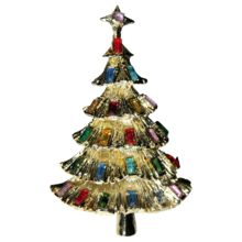 Kramer of New York Baguette Tiered Christmas Tree Pin ~ Book Piece