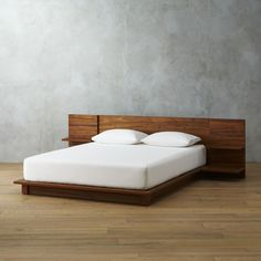 Shop andes acacia platform bed. Acacia veneer platform scales to new lo-heights integrating headboard nightstands that cantilever two stepped shelves each—one wide for books, one narrow with discreet cord cutouts for clock/light/dock. Just right height for pillow propping.
