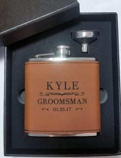 Groomsmen Gift, Engraved Hip Flask, Groomsmen Flask, Personalized Flask, Flask Gift Set, Bridal Party, Wedding Party Gift, Flask by AKLaser