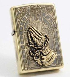 Zippo-Lighter-Prayer-Desired-Antique-Gold-Brass-Best-Deal-From-Japan-New