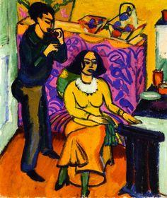 Ernst Ludwig Kirchner (1880 - 1938) Otto and Maschka Mueller in the Studio , 1911