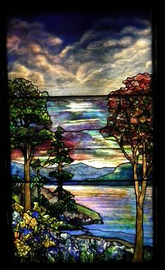 Autumn Landscape, c. 1890. Design attributed to Agnes F. Northrup, fabricated by Tiffany Studios, New York. Smith Museum of Stained Glass Windows, Chicago.