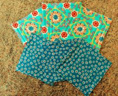 Set of six quilted fabric coasters drink mats aqua by StephsQuilts