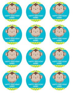 "MOD Monkey BOY First Birthday Baby Shower Edible Cupcake Toppers-2"" 12 Per Sheet-Edible Picture Edible Image"