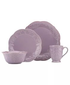 Crafted of stoneware, this violet dinnerware set from Lenox is perfect for everyday use. With its beaded motif resembling beautiful embroidery, the French Perle dinnerware is dressy enough for more formal occasions as well. Purple Dinnerware, Stoneware Dinnerware Sets, Purple Home, Lenox French Perle, Pastel, French Kitchen, Tea Stains, Robins Egg, Joss And Main