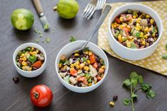 Super tasty lookin black bean salad! I'd leave out the water chestnuts so it's more of a corn salsa with beans.