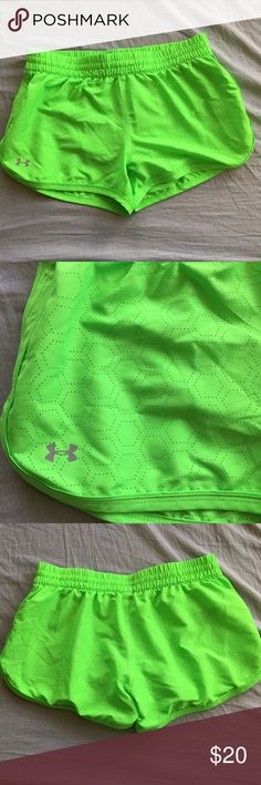 Under Armour Neon Green running shorts EUC athletic shorts, semi fitted and lined. Under Armour Shorts