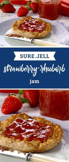 SURE.JELL Strawberry-Rhubarb Jam – Cook fresh strawberry, rhubarb, sugar, and fruit pectin briefly to create this SURE.JELL Strawberry-Rhubarb Jam recipe for your brunch menu. This jam is a delicious pairing to any breakfast baked good.