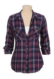 Stud embellished pocket plaid shirt - maurices.com