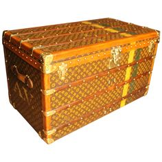4c227429e6d8 1930s Large Louis Vuitton Monogram Stenciled Courier Steamer Trunk
