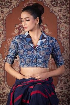 Best 12 Navy Blue Kalamkari Glass Sleeve Blouse With Collar – SkillOfKing. Kalamkari Blouse Designs, Cotton Saree Blouse Designs, Fancy Blouse Designs, Blouse Neck Designs, Kalamkari Saree, Blouse Styles, Churidar, Anarkali, Lehenga