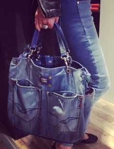 Jeans Bags - how to style and whear... Clothing, Shoes & Jewelry - Women - handmade handbags & accessories - http://amzn.to/2kdX3h7