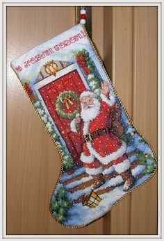 Candy Cane Santa Stocking