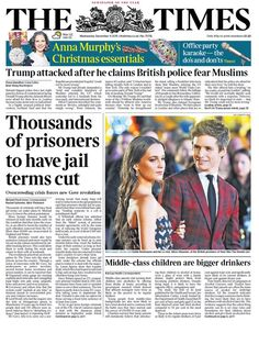 """""""Wednesday's Times front page: Thousands of prisoners to have jail terms cut Karaoke Party, Prison, Bbc, Revolution, Times, Children, Wednesday, December, Twitter"""