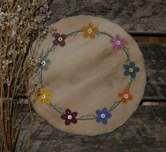 Primitive Bittersweet & Mini Flowers Spring Penny Rug ~ Easter time Candle Mat