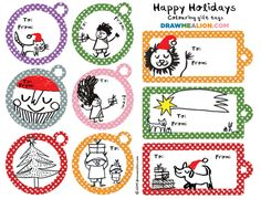 Free Holiday Gift Tags from Draw Me A Lion.  http://drawmealion.bigcartel.com/free-downloads