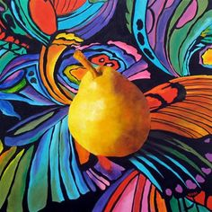 "Pear Painting, Still Life Art Original Oil Painting, LARGE and Colorful, ""Psychedelic Pear,"" by Marina Petro Still Life Fruit, Food Painting, Painting Still Life, Kitchen Art, Still Life Photography, Painting Inspiration, Psychedelic, Original Paintings, Abstract Art"