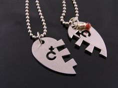 Couple Necklaces with Heart Pendant Matching by WedunitJewels