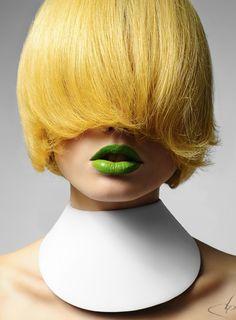 yellow hair & green lips