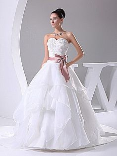 Appliqued Sweetheart Strapless Wedding Gown with Ribbon Sash - USD $203.00