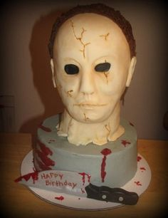 Michael Myers Birthday Cake.  LOVE the knife!