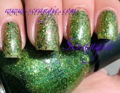 October 2012 : Sinful Colors in # 932 Call You Later: This has got to be my fav glitter! It's a multi layered glitter - primary green medium hexi glitter, small gold glitter, and a grass green and silver micro glitter, this is the contrast color go to for whatever you need. it has the perfect glitter to clear coat ratio standing at 20:80 allowing to let those pretty cloros shine from underneath. great for sponge and 4 to 5 coats to use alone. * Photo from Scrangie