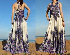 Full Length Infinity Dress Wrap Convertible Dress Blue Bridesmaid Maxi Peacock Wedding Dress. $119.00, via Etsy.