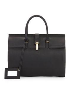 Tube-Clasp Tote Bag, Black by Balenciaga at Neiman Marcus.