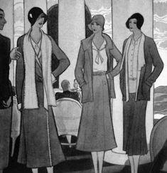 Chanel Illustration for 1930 Vogue UK Chanel 19, Coco Chanel Fashion, Fifties Fashion, Vintage Fashion, Ladies Fashion, Vintage Style, Vintage Vogue, Vintage Chanel, Vogue Uk