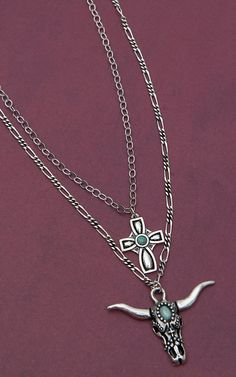 Montana Silversmiths® Silver Steer Skull & Cross Pendant Double Silver Chain Necklace
