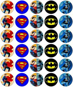30 x Superman vs Batman Party Edible Rice Wafer Paper Cup Cake Toppers Jim Lee