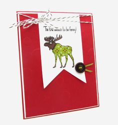 """I used the adorable stamp set from Stampin' Up! called """"Vision of Santa"""" #christmas, #reindeers, #paperpiecing, #holidaycard, #christmascard, #banner"""