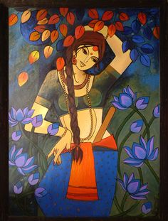 An Indian Contemporary Artist - An renowed Delhi based Artist having numbers of solo and group shows in delhi, mumbai and other cities and countries, . Mural Painting, Mural Art, Figure Painting, Painting & Drawing, Indian Folk Art, Indian Artist, Madhubani Art, Krishna Painting, Indian Art Paintings
