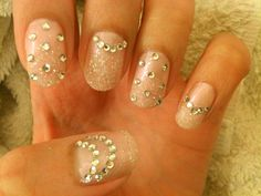 chichicho~ nail art addicts: Snowy Bling Bling Nails~