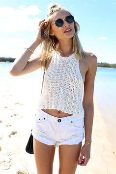 Beach Knit Crop - Cream   SABO SKIRT