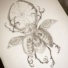 Instagram photo by ivanusmaximus - Beetle! #art #drawing #pencil #bug #tattoo #skull #eye
